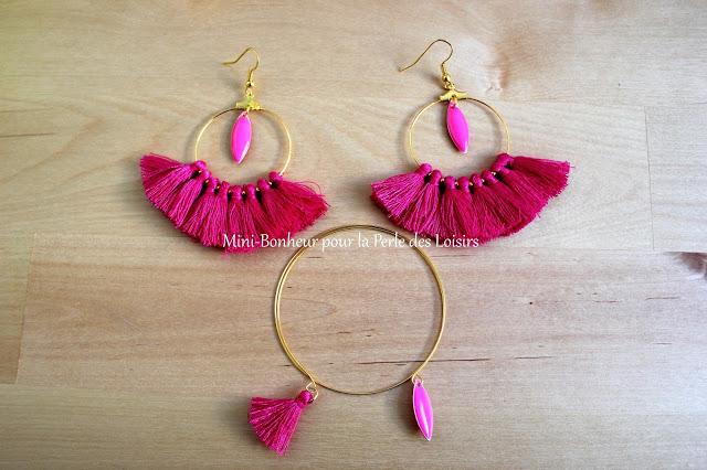 parure, bijoux, boucles d'oreilles, bracelet, fleur, rose, Mini Bonheur, La Perle    des Loisirs,