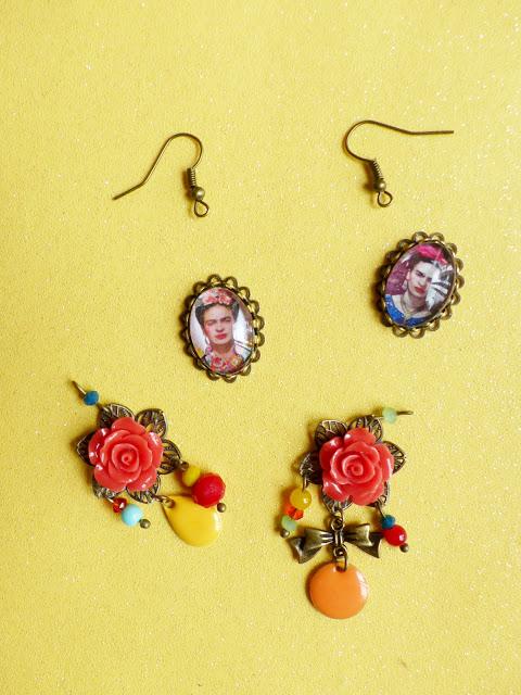 DIY, boucle d'oreilles, bracelet, Frida Kahlo, bijoux, Une fille à frange, perle des loisiris