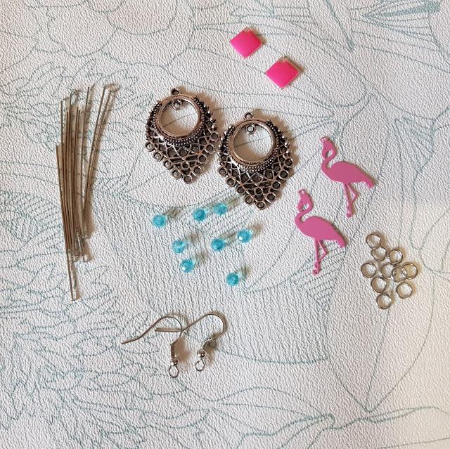 boucles oreilles, DIY, flamant rose, bijoux, bonnie parker creation, perle des loisirs